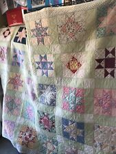 1930's Antique Primitive Star 8-point Handmade Quilt 70�x82� Pastel Colors