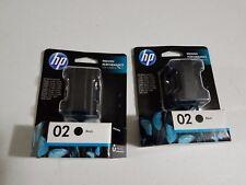 Lot of 2 NEW! GENUINE HP 02 Ink Cartridge Set HP C8721WN  Black Twin Pack