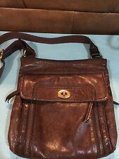 FOSSIL Dark Brown Leather Stanton Traveler Messenger/Crossbody Bag Purse EUC!!!