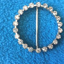 BK105   Two Round Rhinestone Belt Buckles silver-tone metal 1 7/8 inch diameter