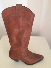 Mujer Cuero Tostado Dallas botas de vaquero Tamaño Tamaño nos 8.5 M UK6