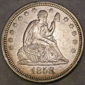 1858 LIBERTY SEATED SILVER QUARTER APPEALN DRAPERY FEATHERS HAIR DIE CLASHS SCAR