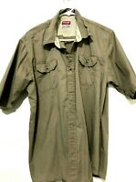 Wrangler Mens Short Sleeve Western Dress Shirt Gray Size XL
