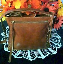 "Women's Rugged Medium Brown Leather ""LUCKY BRAND"" Designer Cross Body Bag Purse"