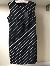 DKNY Ladies Black Striped Dress Sz 12 BNWT