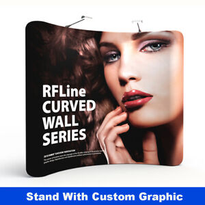 10ft curved trade show display back wall booth with Custom graphic print
