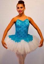 Poetic Dance Costume TURQUOISE Sequin Lace Peplum WHITE Ballet Tutu Adult Large