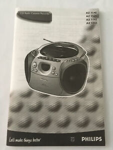 Philips CD Radio Cassette User Guide Instruction Manual Book Only AZ1140-43
