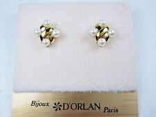 made with Imitation Pearls 0820 D'Orlan Gold Plated Pierced Earrings