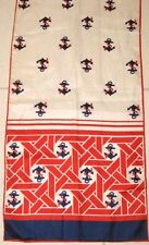 Baar & Beards Scarf Anchor Theme Red White & Blue Oblong Japan Vintage 1960's