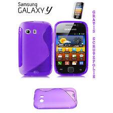 Silikon TPU Case Tasche f Samsung Galaxy Y GT-S5360 Handy Schutzhülle Lila Folie