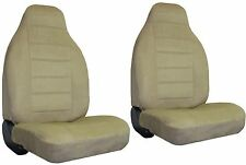 Quilted Encore Velour 2 Tan Beige High Back Bucket Car Truck SUV Seat Covers FRD