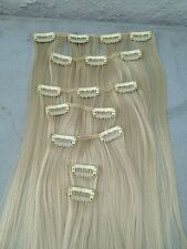 "light blonde 7 pcs set straight 20"" long clip in on hair extension heat resist"