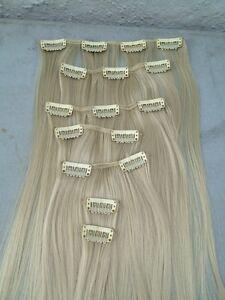 "light blonde 7 pcs set straight 20"" long clip in on hair extension heat resist n"