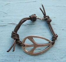 Peace Sign Bracelet * Hand Sculpted * Supple Leather * Hand Made Closure