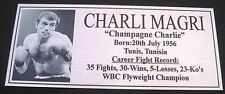 """CHARLIE MAGRI new Boxing Champions Silver  Subimated Plaque """"FREE POSTAGE"""""""