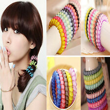 12pcs Elastic Girl Rubber Telephone Wire Style Hair Ties & Plastic Rope Hairband