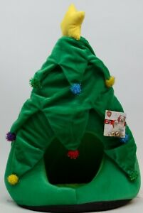 Christmas Tree Dog Cat Pet Hut Fleece Soft Igloo Bed Travel Fleece Basket
