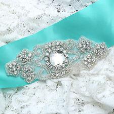 Vintage Style Flower Diamante Rhinestone Crystal Beaded Wedding Bridal Applique