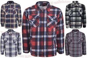 Huang Fleece Padded Lumberjack Check Shirt Fur Lined Sherpa Warm Casual Shirts
