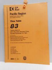 Vintage - CP Rail - Employee Time Table # 83 - Pacific Region - Alberta 1981