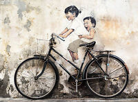 "36"" x 24"" Canvas Print urban  funny kids bike Graffiti street not banksy art"