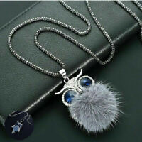 Necklace Women Crystal Owl Pendant Rhinestone Long Chain Sweater Tassel Gift Fur