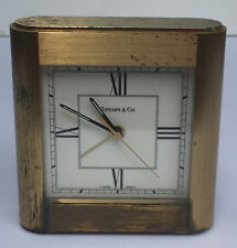 Vintage Tiffany & Co Heavy Brass Quartz Swiss Desk Clock