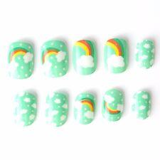 20 Pcs Rainbow Children False Nails Green Blue Pre-glue Press on Fake Nails Tips