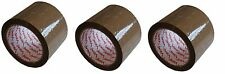 3 X EXTRA WIDE HEAVY DUTY BROWN PARCEL PACKING TAPE 75MM x 66M 3'' LARGE ROLL