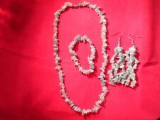 "Green Aventurine Necklace (19""), Bracelet (7.5"") & Earrings Set in Stainless"