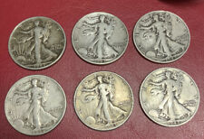 X-6 SILVER WALKING LIBERTY HALF DOLLAR 6 COIN LOT!