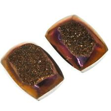 "1/2"" MATCHED PAIR WEEPING WILLOW TITANIUM DRUZY 13x10MM 12.5CT cabochon"