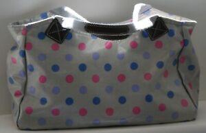 The Old Bag Company Grey Oilcloth Handbag with Pink & Blue Polka Dots