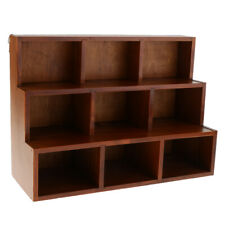 9 Cube Display Unit Wood Storage Shelf Desktop Sundries Organizer Rack Brown