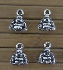 Lot de 6 breloques Bouddha en métal argenté veilli 12 mm x 9,5 mm-bc261