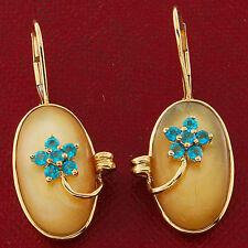 Leverback Oval Yellow Gold Fine Gemstone Earrings