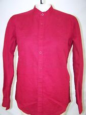 Cubavera Red Slim Fit Button Front Long Sleeve Top Womens Size Medium 8 10
