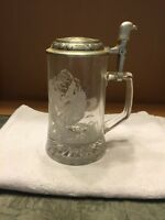 Domex Pewter Top Glass Beer Stein With Eagle Design