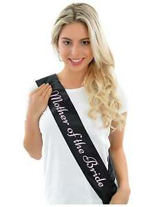 MOTHER OF THE BRIDE HEN NIGHT PARTY SASH HEN DO SASHES BLACK MOTHER OF BRIDE