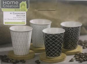 4 Espressotassen Mokka-Becher aus Porzellan mit Bambusuntersetzer Neu in OVP