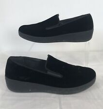 FIT FLOP Black Velour Shoes Pumps UK 4