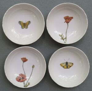 Set of FOUR Target Melamine Lg Cereal Bowls Butterflies and Poppies