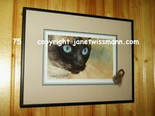 FULLY FRAMED FINE ART PAINTING PRINT, NEW Siamese Cat kitten eyes watercolor