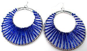 Blue Beaded Pierced Double Hoop Earrings Large Silver Wire Wrapped