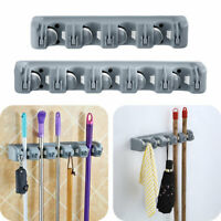 Wall Mounted Mop Holder Brush Broom Storages Rack Organizer Hanger with Hooks