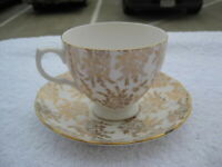 Vintage Royal Vale Bone China England Cup & Saucer Gold Chintz White Floral