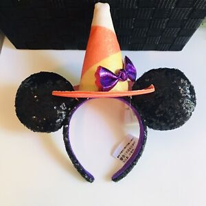 NWT Disney Parks Minnie Mouse Halloween Ears Candy Corn Sequined Witch MNSSHP