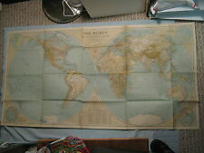 """ANTIQUE THE WORLD MAP National Geographic December 1935 23"""" x 44"""" XLNT"""