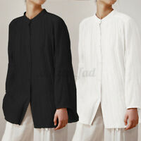 Women Button Front Shirt Long Sleeve Top Tee Loose Plain Basic Plus Size Blouse